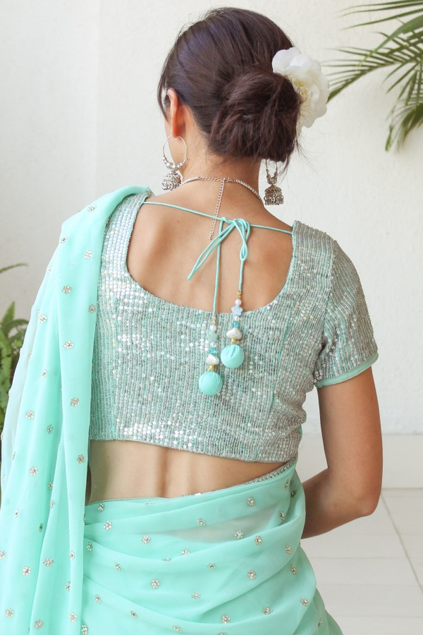Mint Green Saree e-16