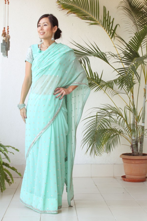 Mint Green Saree e-18