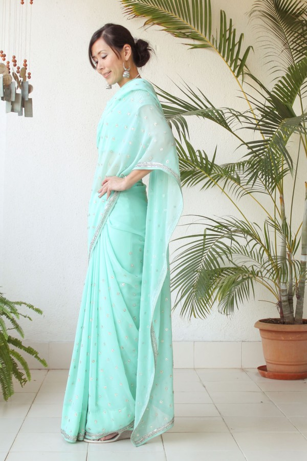 Mint Green Saree e-19