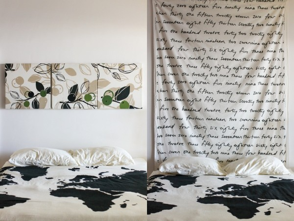 bedroom spruce up with IKEA fabric