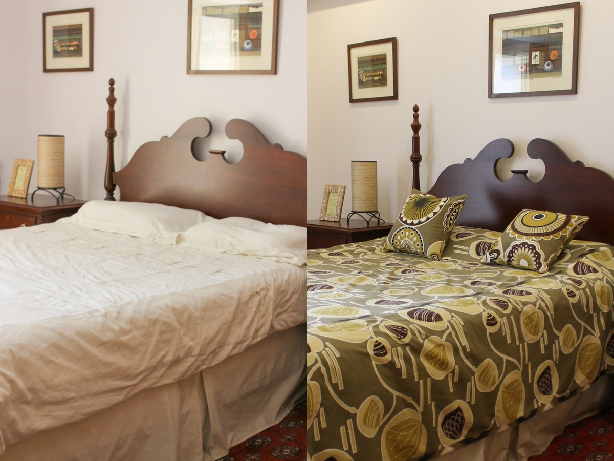 Quick Bedroom Makeover With A Bed Cover Pillows Chuzai
