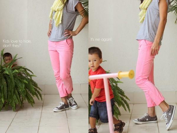 neon pants yellow scarf Sanctum e